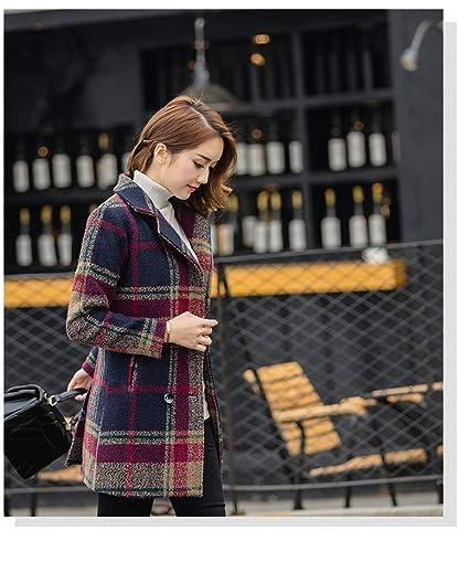 EGCRA Abrigos Abrigo De Tela Escocesa para Mujer Otoño Invierno Chaqueta Larga Blusa con Cuello Doblado
