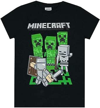 Minecraft Adventure Logo Boys Black Short Sleeve Gamer T-Shirt 7-8 Years