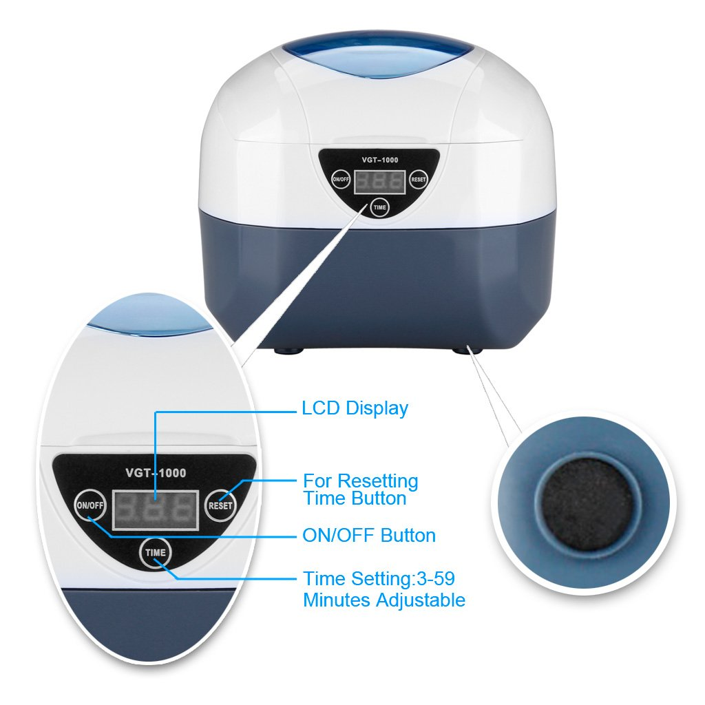 GT SONIC 750ml Digital Ultrasonic Cleaner for Jewellery, Dentures, Glasses, Disk, Coins and More, 40KHz 40W Ultrasonic Cleaning Machine with 5 Timer Setting, Stainless Steel Tank and Internal Basket