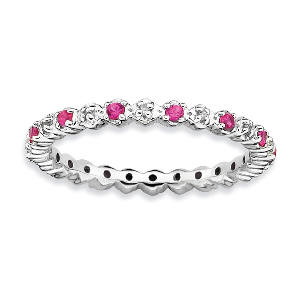 Top 10 Jewelry Gift Sterling Silver Stackable Expressions Cr. Ruby & Diamond Ring
