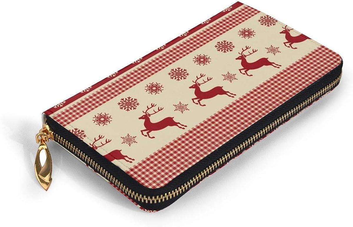Women Genuine Leather Wallets Merry Christmas Credit Card Holder Organizer Ladies Purse Zipper Around Clutch Cash Pocket