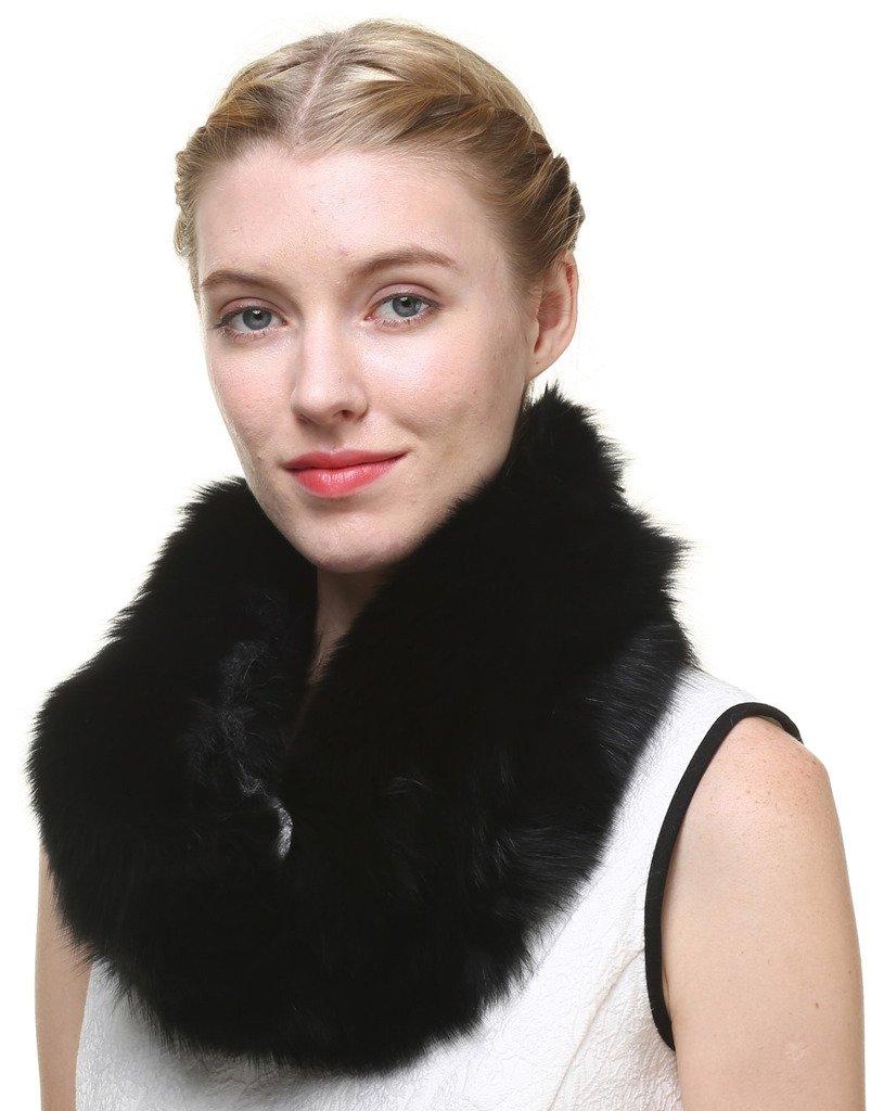 Vogueearth Women'Real Fox Fur Winter Neck Warmer Black A80162AH-Black