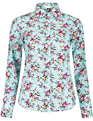DOKKIA Women's Fashion Tops Feminine Long Sleeve Button Down Work Casual Dress Blouses Shirts (Large, Turquoise Floral)