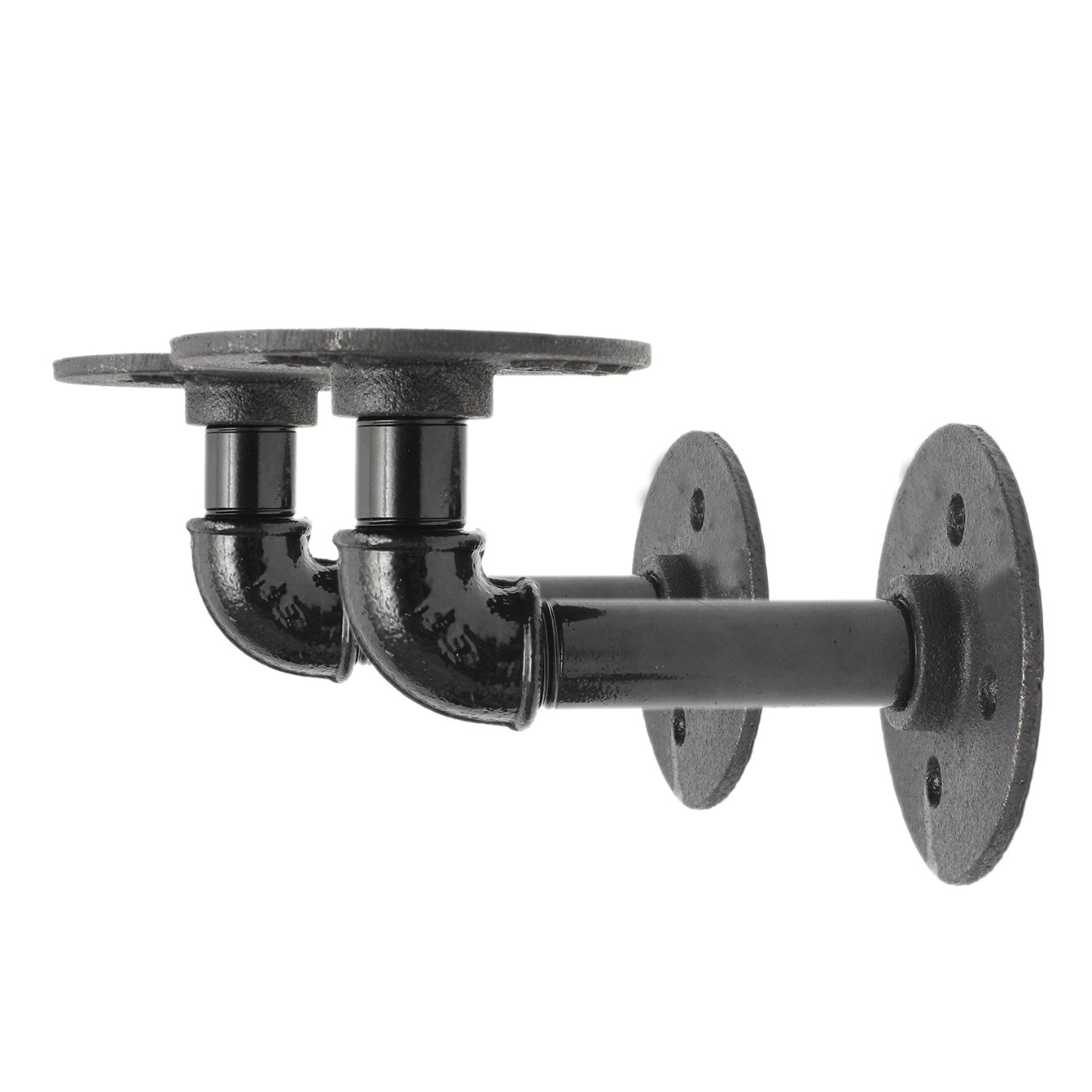 QIZIANG 2 Stücke Steampunk Industrierohrgerüst Bord Regal Regal Regal Klammern Schwarz Eisen 14x9 cm Hot B07Q6HW1DZ Multifunktionswerkzeuge Kunde zuerst 035a85
