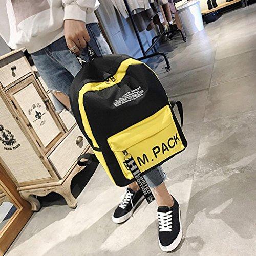 Bag Yellow Bookbag Backpack School Unisex Shoulder Rucksack x0wqAqWn
