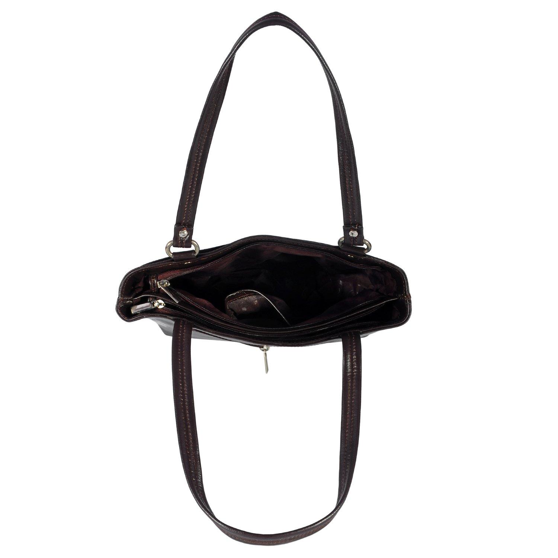 Zint Womens Genuine Leather Brown Shoulder Bag