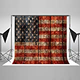 Kate 10ft(W)x10ft(H) American Flag Photography Backdrops Microfiber Vintage American Flag Photo Backdrop