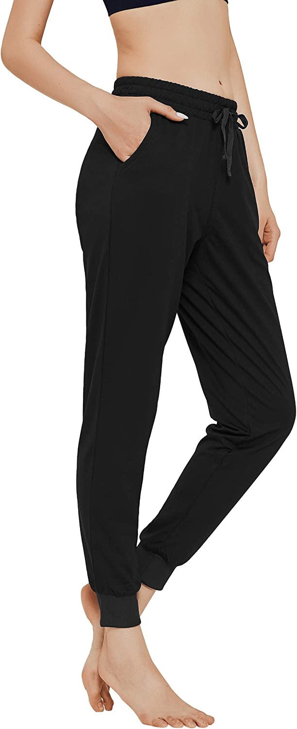 Ullnoy Athletic Jogger Pants for Women Cotton Sweatpants with Pockets Trapered Lounge Running Pants Drawstring 2 Pack