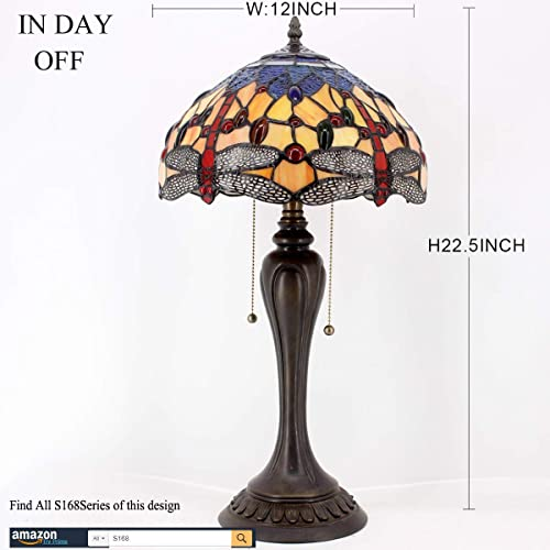 Tiffany Table Lamp Orange Blue Stained Glass Crystal Bead Dragonfly Style Lampshade W12H22 Inch S168 WERFACTORY Lamps Lover Friends Kids Parents Living Room Bedroom Antique Desk Lighting Crafts Gift