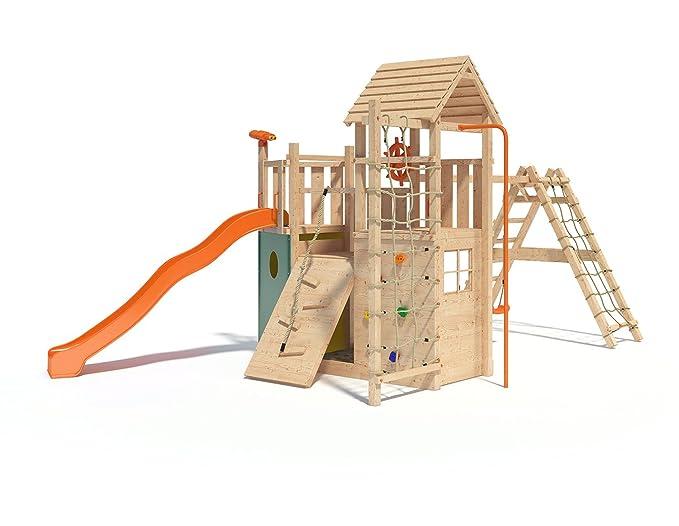 Xxl Klettergerüst 2 4m Kletterturm Spielturm Mit Kletternetz Reckstange Leiter : Hangelgerüst als kinder klettergerüst spielgerät din en