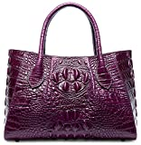 Pifuren Designer Crocodile Top Handle Handbags Womens Genuine Leather Tote Bags M1107 (New Violet)