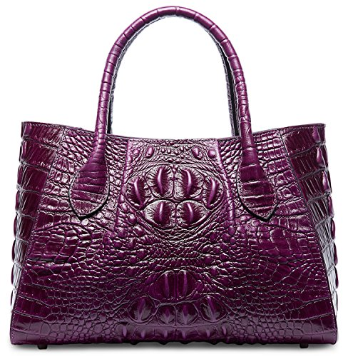 Pifuren Designer Crocodile Top Handle Handbags Womens Genuine Leather Tote Bags M1107 (New Violet) by PIFUREN