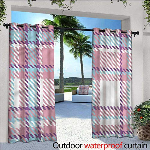 - warmfamily Checkered Patio Curtains Antique English Tile Outdoor Curtain for Patio,Outdoor Patio Curtains W84 x L108