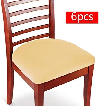 Boshen 6PCS Elastic Spandex Chair Stretch Seat Covers Protector for Dining  Room Kitchen Chairs Stretchable (Beige, 6)