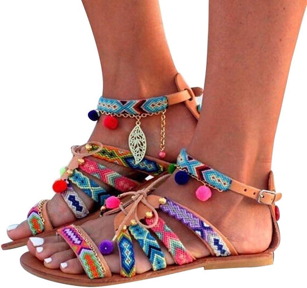 Alaso Sandales Femmes Bohême,Chaussures de Ville Été