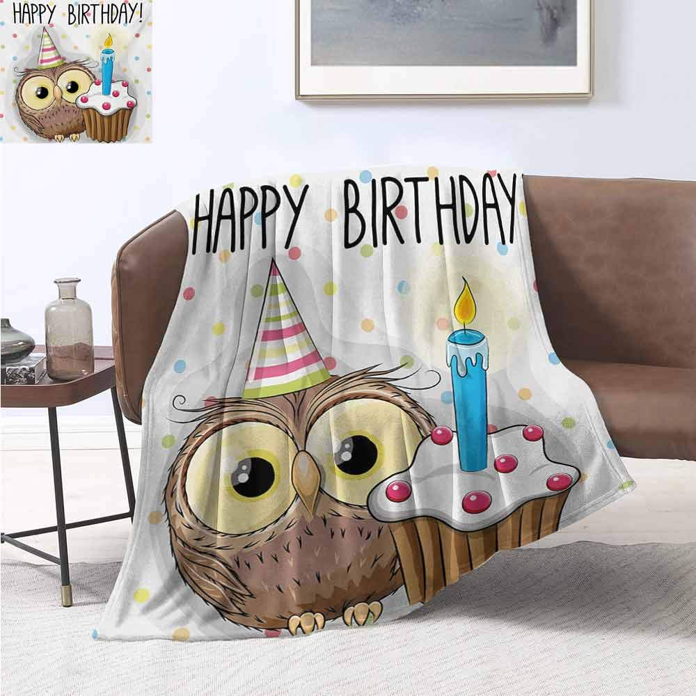 jecycleus Kids Birthday Children's Blanket Baby Owl Bird Party Cupcake Tasty Creamy Cake on Colorful Polka Dots Backdrop Lightweight Soft Warm and Comfortable W60 by L50 Inch Multicolor by jecycleus