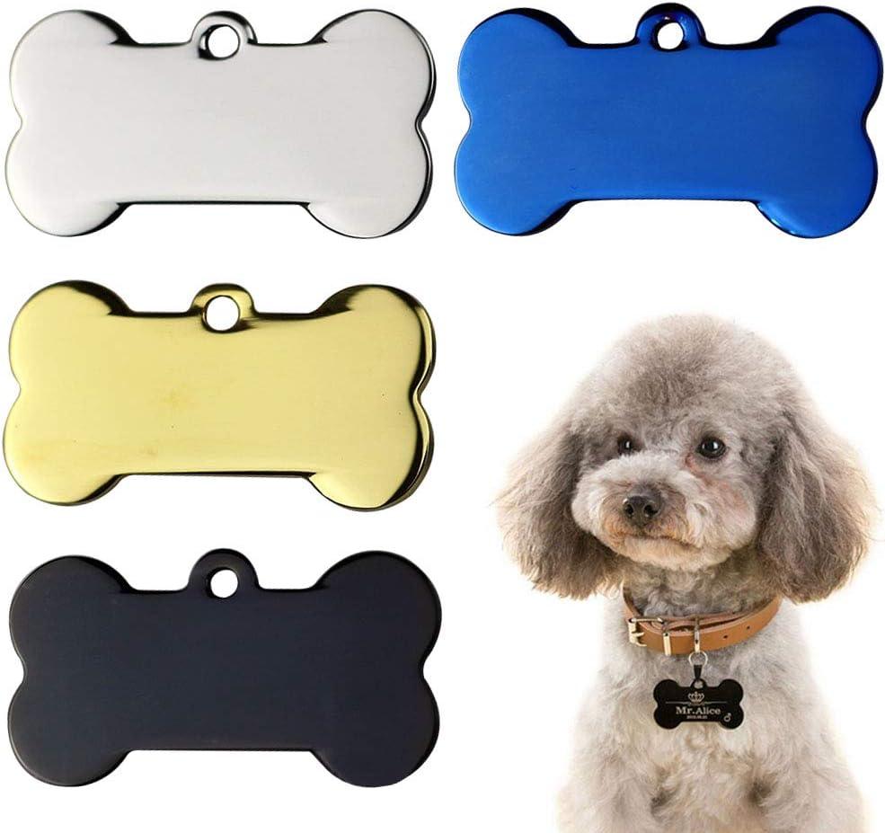 WENTS 4PCS Etiquetas de Identificación de Mascotas de Acero Inoxidable de Perro de Hueso Personalizado Dirección Teléfono del Nombre(5*2.8cm)