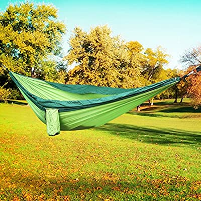 """FEMOR Single & Double Camping Hammock, Lightweight Nylon Portable Hommock With Tree Straps, Parachute Outdoor Hammock for Backpacking, Camping, Travel, Beach, Yard. 118"""" x 78"""""""