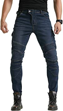 Mens Motorcycle Riding Pants Denim Jeans Protect Pads Equipment with Knee and Hip Armor Pads VES6 Blue, M=30