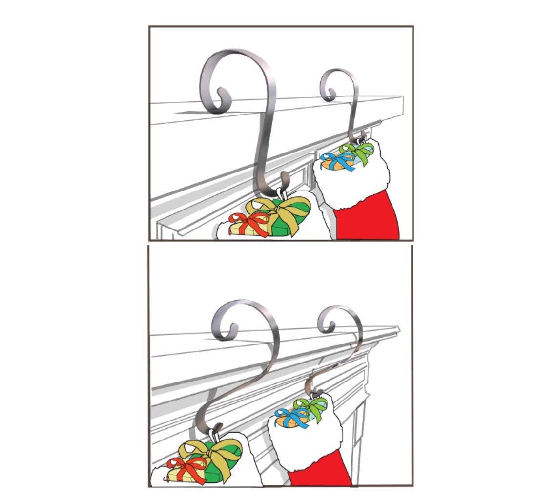 Stocking Scrolls 4-PACK Stocking Hanger Set Glitter Silver Haute Decor SS0456