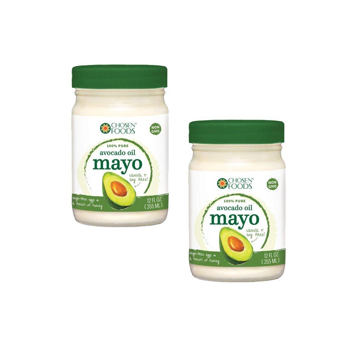 Chosen Foods 100% Pure Avocado Oil Mayo Non GMO - Cage Free Eggs - Soy Free - 12OZ - 2 PACK - KOSHER