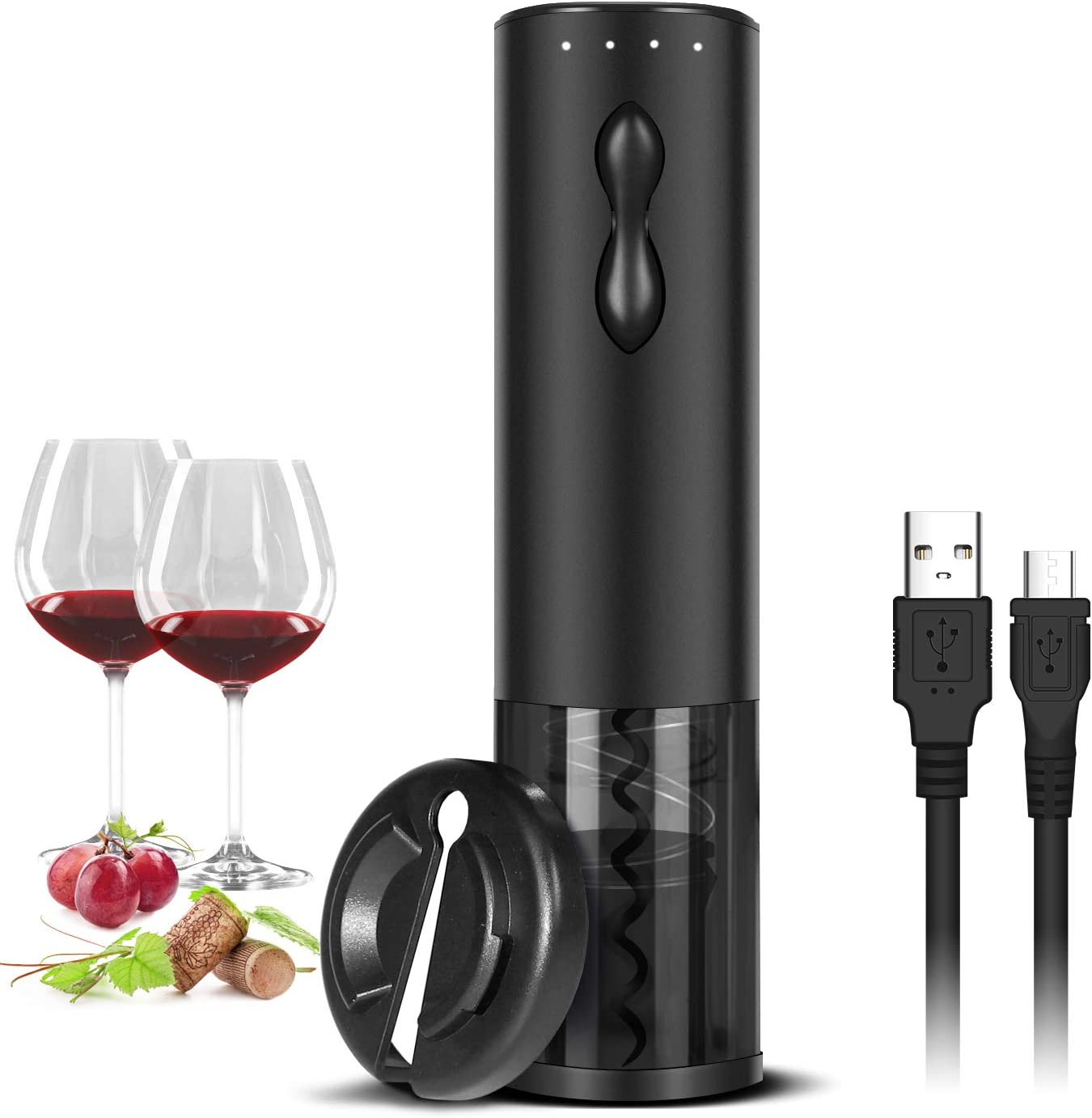 Electric Wine Opener Rechargeable Automatic Corkscrew Wine Bottle Openers with Foil Cutter and USB Cable, Black