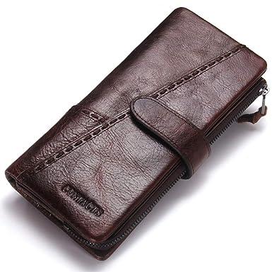 Junjiagao Herren Brieftasche Retro Schnalle Leder Nähte Reißverschluss  Clutch Abnehmbare Aktivität Geldbörse (Color   Brown b229572405