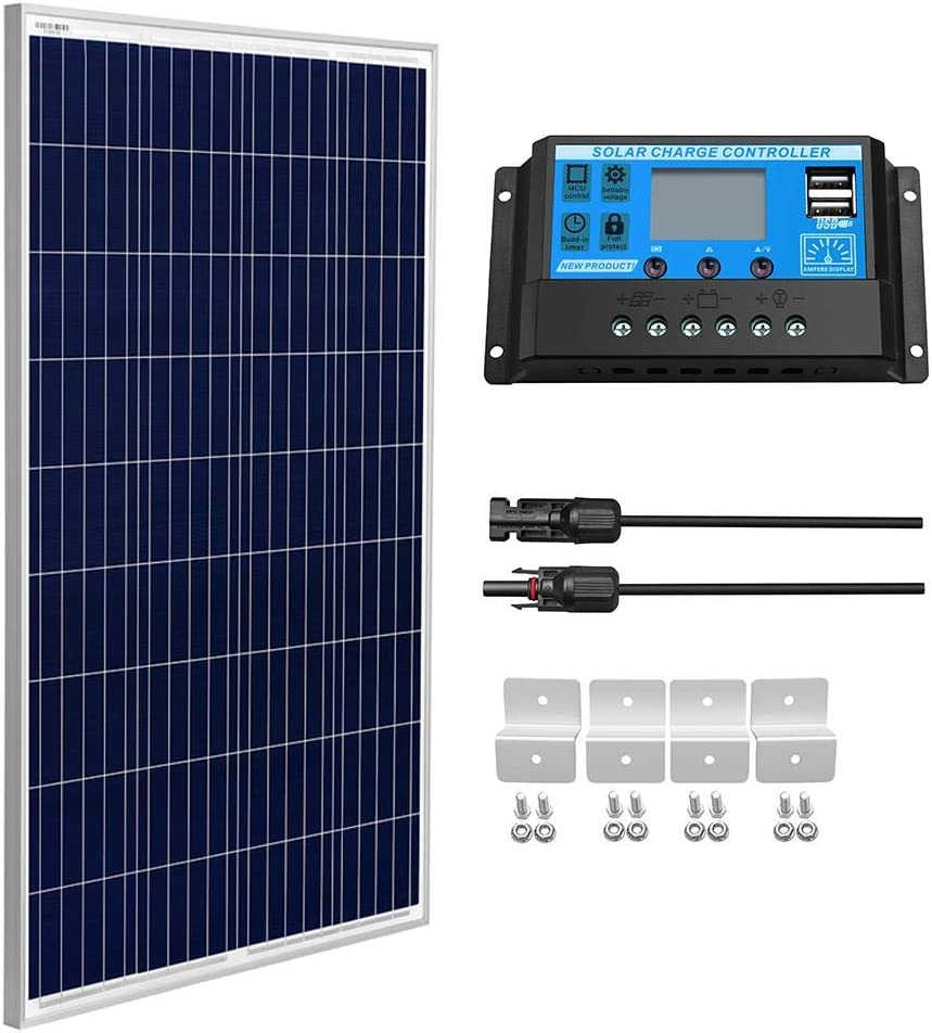 SUNGOLDPOWER 100 Watt 12V Polycrystalline Solar Panel Solar Module:1pcs 100W Polycrystalline Solar Panel Solar Cell Grade A +20A LCD PWM Charge Controller Solar+Solar Panel Connector Extension Cables