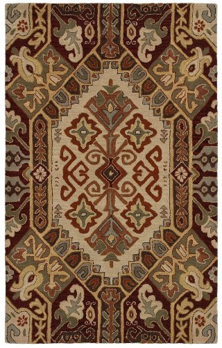picture of Rizzy Home SU8105 Southwest Hand-Tufted Area Rug, 5-Feet by 8-Feet, Southwest, Beige/Red