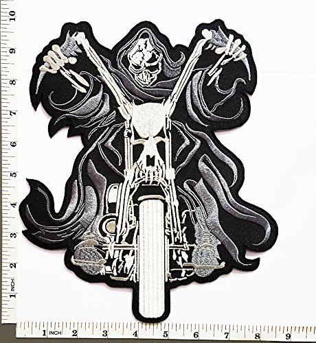 [Big Jumbo Large Ghost Rider Reaper Chopper Motorcycles Skull Ghost Punk Rock Lady Rider Biker Jacket T-shirt Suit Patch Iron on Embroidered Applique Sign Badge] (Lady Reaper Costumes)
