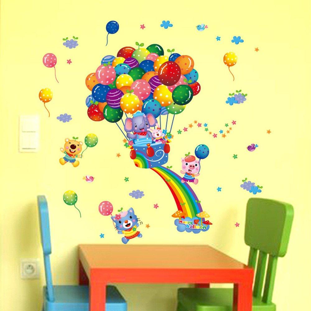 Amazon.com: Cartoon Animal Flying Air Balloon Wall Stickers ...