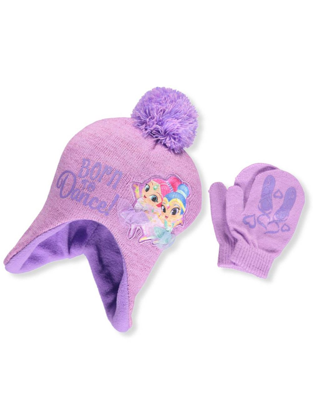 Shimmer And Shine Girls' Beanie & Mittens Set - lilac/multi, one size Simmer And Shine