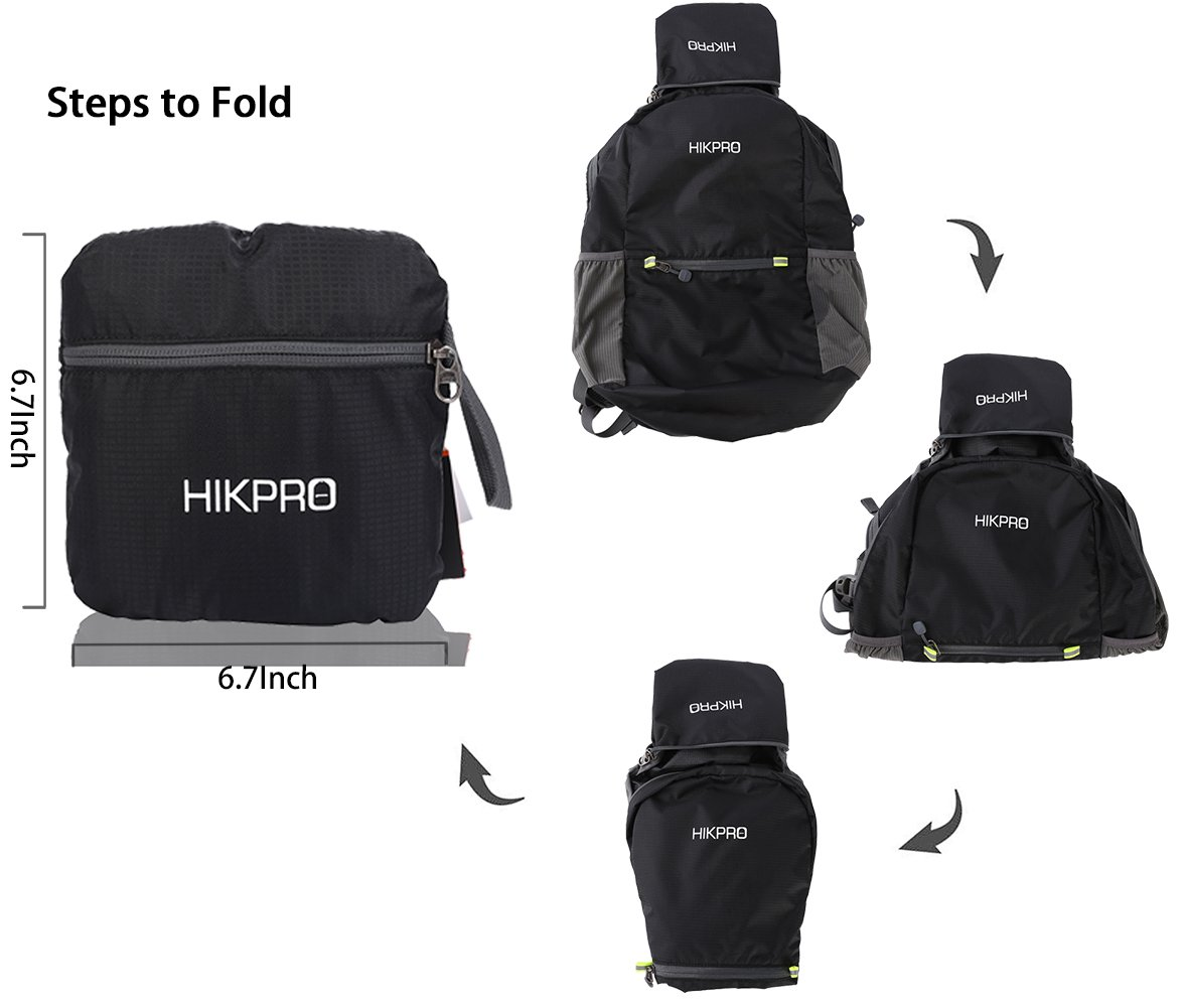 ... Travel Hiking Backpack Daypack Black  quality design a2d56 b0aac HIKPRO  20L - The Most Durable Lightweight Packable Backpack, Water Resistant ... d679bf1808