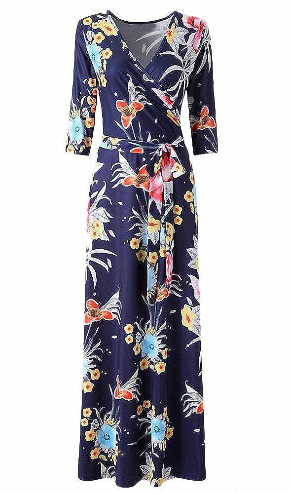 41721aa0eb96 Afibi Womens Bohemian 3/4 Sleeve Faux Wrap Maxi Dress with Belt at Amazon  Women's Clothing store: