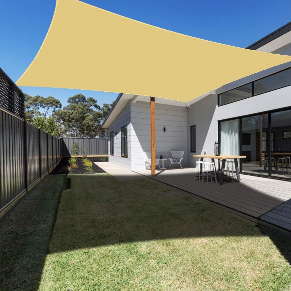Ankuka Sun Shade Sail Canopy Rectangle UV Block for Outdoor Patio and Garden, Yard Activities (10' × 10', Sand)