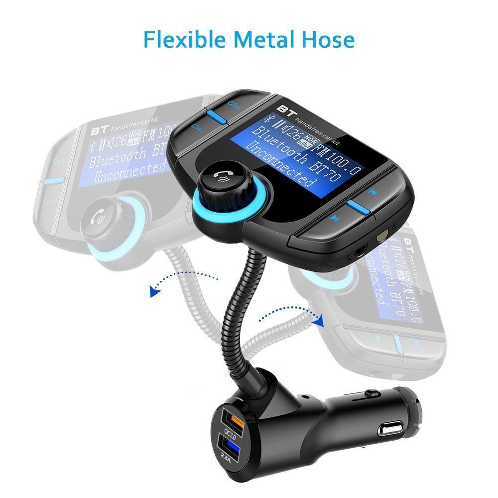 und Android-Ger/äte Bovon Bluetooth FM Transmitter KFZ Wireless Radio Adapter Freisprecheinrichtung Smart Dual USB-Anschl/üsse Auto-ladeger/äte mit Quick Charge 3.0 3.5mm Aux/&TF Karte Slot f/ür iOS