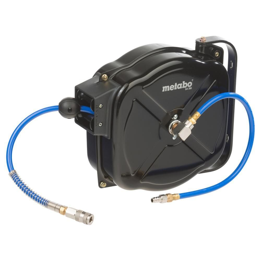 Metabo Schlauchaufbewarung Schlauchaufroller SA 300 automatisch / flexible Schlauchtrommel mit automatischem Aufrollen und Wand- bzw Deckenhalterung