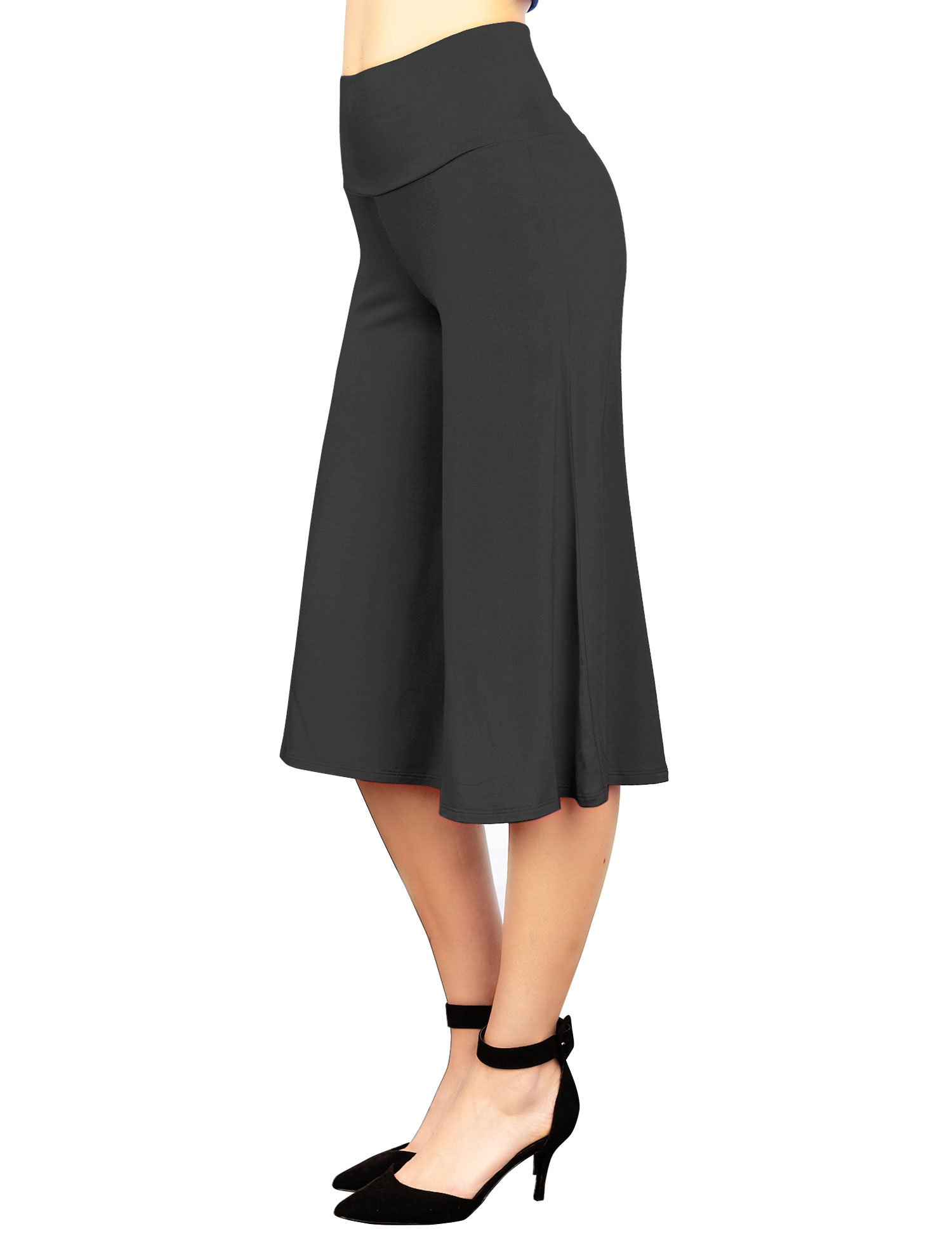 Made By Johnny WB876 Womens Knit Culottes Pants L Black