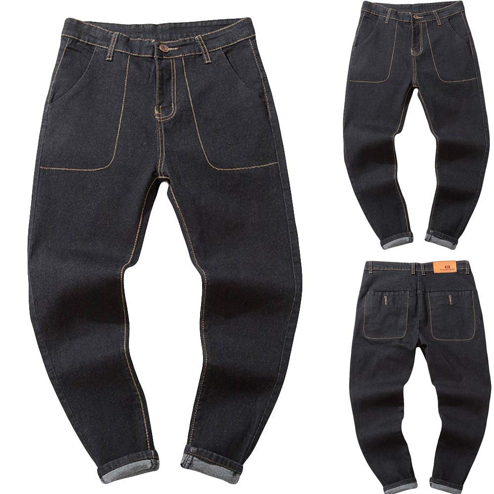 Men Plus Size Jeans Fashion Vintage Washed Distressed Relaxed Fit Straight Denim Pants Jeans for Teen Boys