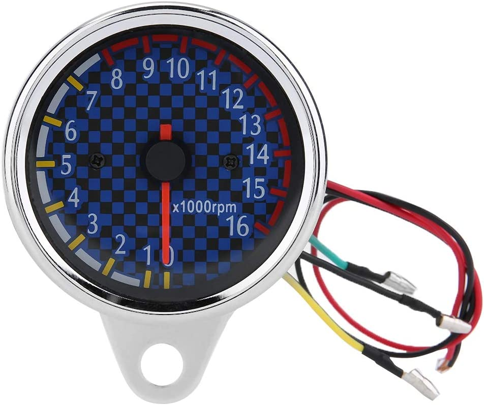 Gorgeri DC 12V Universal Motorcycle LED Display Tachometer Electronic Tach Meter Gauge 16000rpm Silver + Blue
