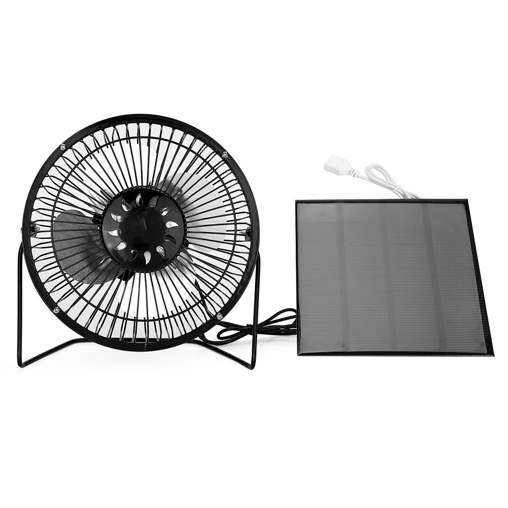 Yosooo 4.5W USB Solar Panel Powered Mini Portable Fan for Cooling Ventilation Outdoor Home Travelling Chicken HouseCar Ventilation System(6 Inch) (4.5W)