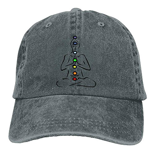 DEFFWB Hat Seven Chakra Symbols Denim Skull Cap Cowboy Cowgirl Sport Hats for Men Women