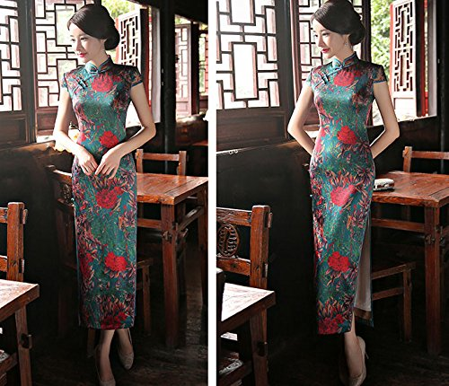 Frauen Blumen Damen Spliss Lange Abendkleid Blumendruck ACVIP Cheongsam Qipao Wickelkleid Retro SwSCPq
