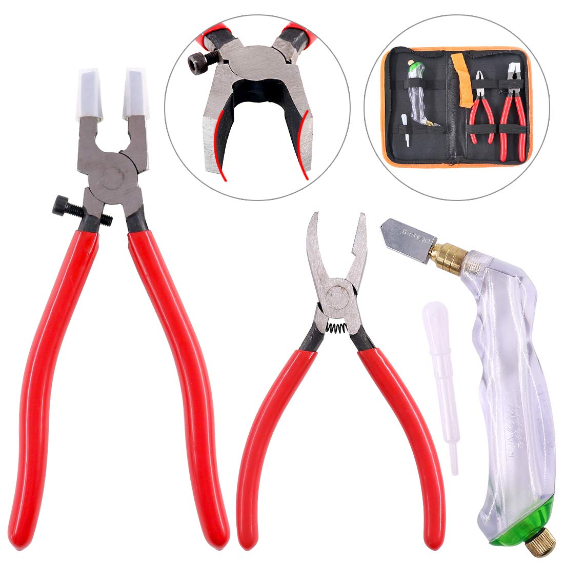 Hilitchi 3-Pcs Premium Glass Running Breaking Pliers and Pistol Grip Cutter Set Glass Tool for Stained Glass, Mosaics and Fusing Work by Hilitchi