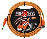 "Pig Hog PCH10CCR 1/4"" to 1/4"" Right-Angle Orange Cream Guitar Instrument Cable, 10 Feet"