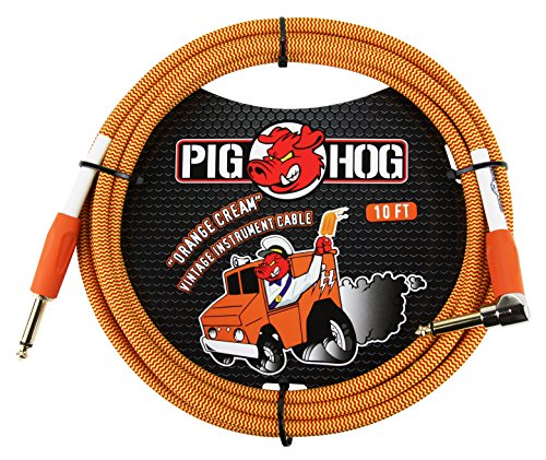 Pig Hog PCH10CCR 1/4 Straight to 1/4 Right-Angle Orange Cream Guitar Instrument Cable, 10 feet by PigHog