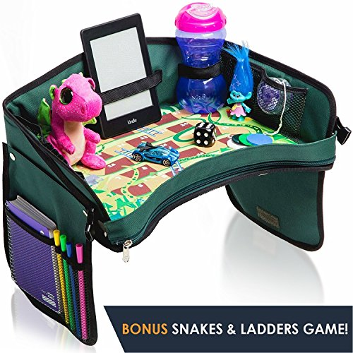 Premium Kids Car Seat Tray - Bonus SNAKES + LADDERS Game | Reinforced Base + Walls | Detachable Kids Travel Tray | Portable Toddler Travel Stroller Tray | Foldable Baby Car Tray For Kids In Car (Toddler Stroller Board)