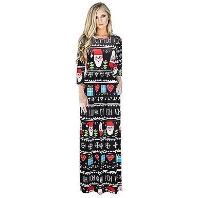 LEDGOO Weihnachten Kleid Damen Langärmliges Kleid Festlich Kleid für ...