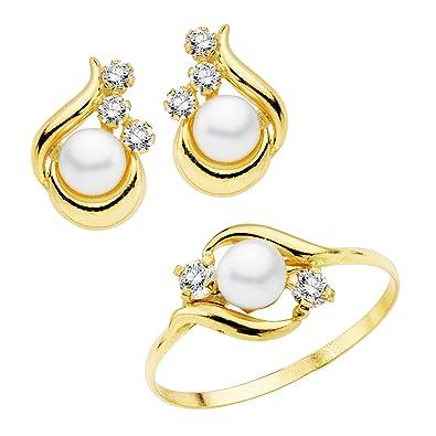 7d7a480b82cf Conjunto juego niña oro amarillo 18 ktes 1ª Comunión anillo y pendientes  perlas y circonitas  Amazon.es  Joyería
