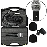 Cordovox Pro Dynamic Microphone Bundle Set With Cable, Case, Mic Holder, And 2 Windscreens. Hyper Cardioid Mic With Tone Quality And On Off Switch